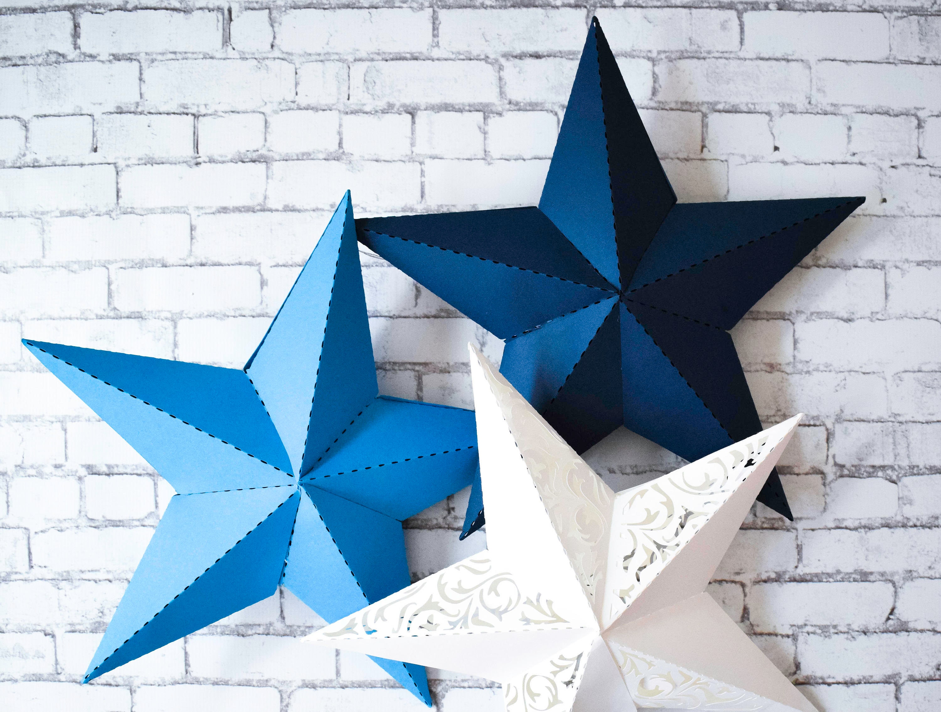 3D Paper Star Printable Template, SVG Star Cut Files, DXF