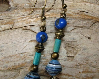 Earrings blue beads and linen