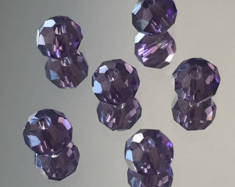 Purple Crystal Beads - 4X6mm Grape Purple Faceted Crystal Rondelle Beads - Glass Crystal Purple Beads - Package of 30 (#564)