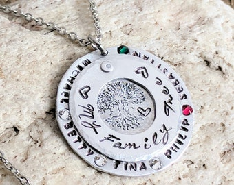 Tree of life necklace, Tree of life pendant, Tree of life jewelry, Family tree necklace, Family tree jewelry, Family name jewelry,