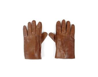 Vintage Leather Gloves - 40s Leather Gloves - 50s Leather Gloves - Mens Vintage Leather Gloves - Brown Leather Gloves - Gimbel Brothers