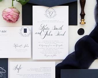 Emily Monogram Navy Wedding Invitation Sets, Elegant and Modern Wreath Invitation Sets, Navy or White Envelopes, Printable or Printed