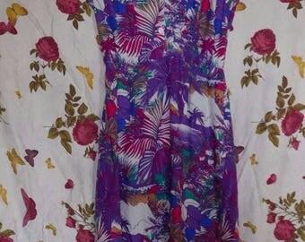 Vintage h&m 1970s tropical print floaty sleeveless purple sun tea dress Small
