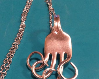 Twisted Tine Fork Pendant Necklace ~ Fork Pendant ~ Handmade ~ Vintage Spoon Jewelry ~ With Stainless Steel Chain