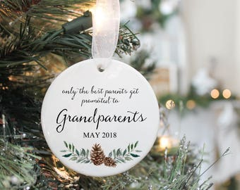 Only the Best Parents get Promoted to Grandparents-Pregnancy Ornament- Pregnancy Announcement- Pregnancy Reveal to Parents Ornament-