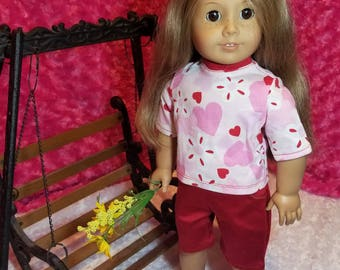 Heart Shirt with Red Summer Shorts [WORKING POCKETS] Outfit - American Girl & Friends