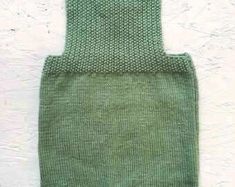 Olive Green hand knitted baby dungaree romper