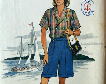 Uncut 1980s Butterick Vintage Sewing Pattern 3103, Size 12; Misses' Shirt, Pants, and Shorts