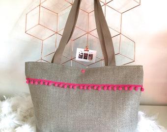 Customizable linen tassel tote bag