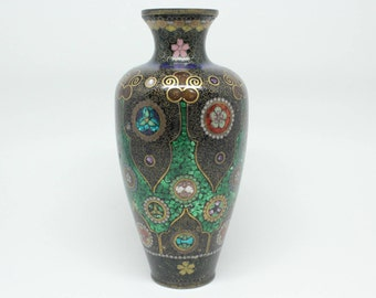 Antique Meiji Period Japanese Ginbari Foiled Glass Cloisonne Enamel Vase FREE SHIPPING