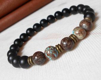 Bead Bracelet Men's Black Beaded Bracelet Men Shungite Bracelet  Men's Jewelry Black Gemstone Bracelet Mens Energy Bracelet Stretch Bracelet
