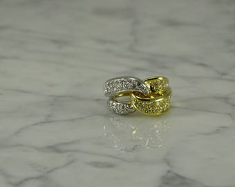 18K Diamond Ring White and Yellow Gold (size 7)