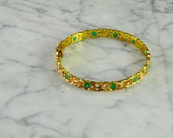 18KT Bangle with Emeralds and Seed Pearls