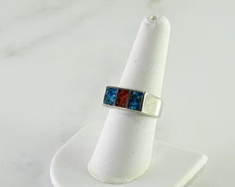 Mosaic Inlaid Sterling Silver Ring Size 8.25