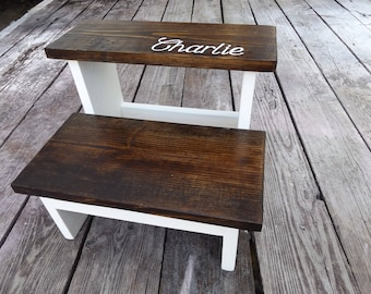 Personalized kids step stool / 2 step stool, kids step stool, toddler step stool, wooden stool, walnut stain with choice of bottom paint,