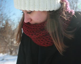 Crimson Hand Knitted Single Loop Infinity Scarf