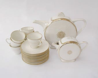 White art deco Limoges TLB France Unique coffee/tea service, rare round TLB coffee service, white and gold round art deco set France 1930s
