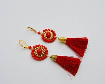 Red Tassel Crystal Earrings