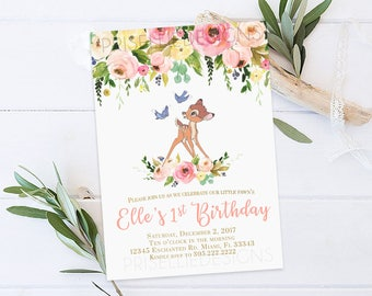 Bambi Birthday Invitation, Bambi Birthday Invitation Girl Printable, Deer Birthday Invitation Girl, Flora Deer Birthday Invitation