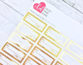 Foiled Bill Pay Tracker | Passion Planner Stickers for the Classic and Compact Size