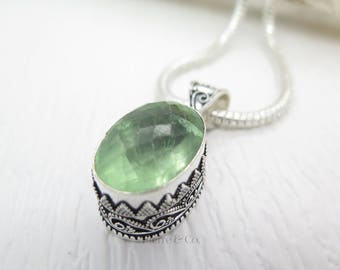 Vintage Faceted Prehnite Sterling Silver Pendant and Chain