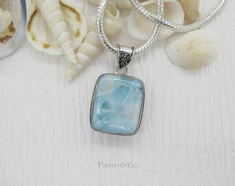 Square Shape Antique Larimar Sterling Silver Pendant and Chain