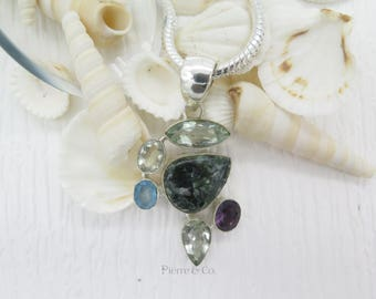 Green Amethyst Seraphinite Blue Topaz and Amethyst Sterling Silver Pendant and Chain