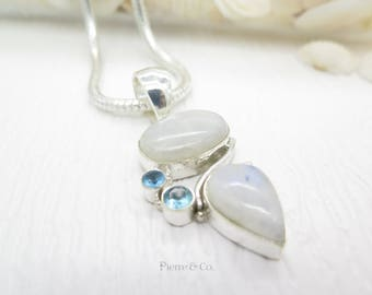 Blue Shine Moonstone and Blue Topaz Sterling Silver Pendant and Chain