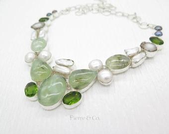 Prehnite Fresh water Pearl Peridot Sterling Silver Necklace