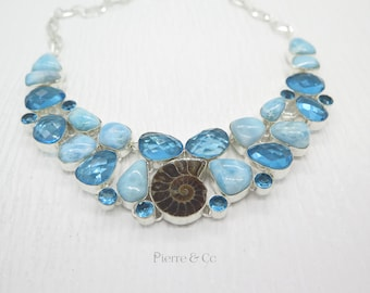 Ammonite Fossil Larimar Blue Topaz Sterling Silver Necklace