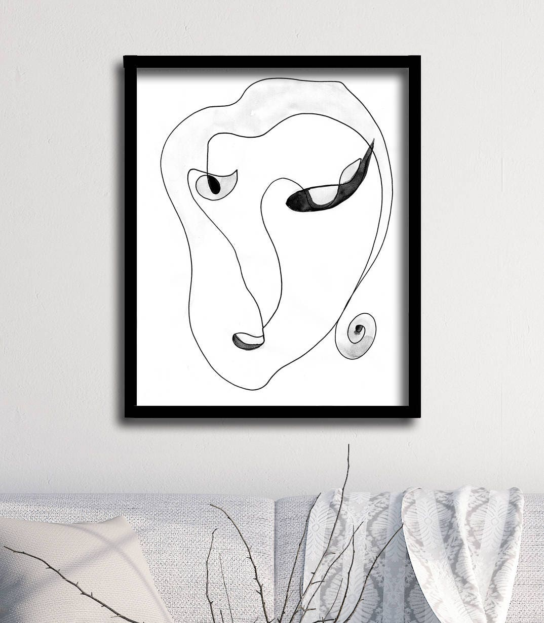 Abstract Face Line Drawing : Abstract face art one line drawing print
