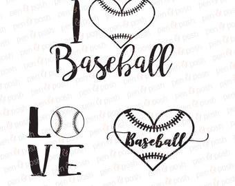 Baseball Heart SVG - Baseball SVG -  Baseball Love SVG - Baseball Dxf - Baseball Love Dxf - Baseball TShirt Cut Files