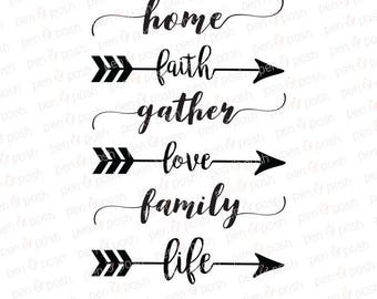 Gather SVG - Love SVG - Life  Home  Family svg - Faith  Gather Cut File - Love Dxf - Gather Dxf - Faith Dxf