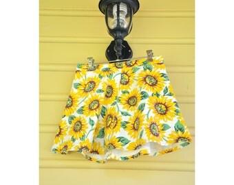 90s Denim Summer Skirt | Pretty Mini Floral Skirt | 1990s Sunflower Skirt