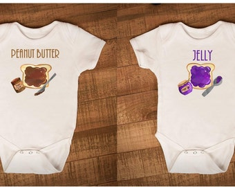 Twin Outfit, Twin ONESIE ®, Peanut Butter ONESIE ®, Jelly ONESIE ®, Matching Outfits, Twin Set, Twin Shirts, Jam Bodysuit, Twin Bodysuit