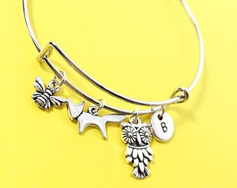 Bee Jewelry Gift, Silver bee bangle, bee charm bracelet,  bee jewelry, bumble bee bracelet, jewelry, personalized gift foe friend, bee gift