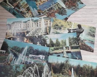 Set of 12 vintage Soviet postcard Petrodvorets.