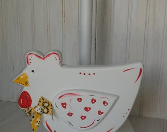 Wooden Paper towel holder Chicken Hand painted Decor Kitchen Accessory Home Living Chef Gift Pantry Storage ApronStringsOwlLady Mom Grandma