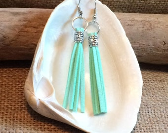Long Tassel Earrings, green Suede dangle drop earrings, tassel jewelry, unique gifts for women, fringe earrings, boho jewelry gift for her