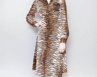 Vintage 1970's Brown Tiger Print Midi Dress