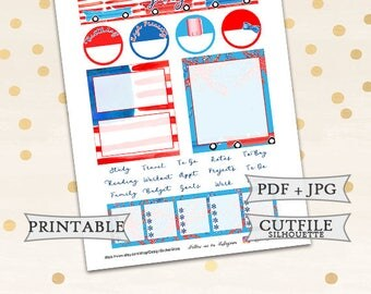 Notes Page Stickers for Erin Condren Lifeplanner/Printable Planner Stickers/July Monthly Stickers/Independence day stickers/4th of July kit