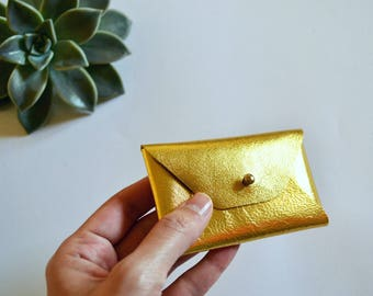Gold leather card case / Gold envelope card holder / Gold leather business card case / Genuine leather