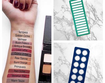12 Section or 14 Section Makeup Swatch Stencils (Rectangle Stencil & Flower Stencil)