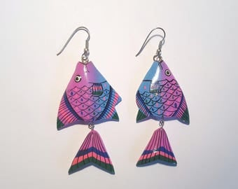 Vintage Colorful Tropical Fish Wood Earrings