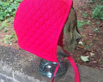 Red Padded Arming Cap / Coif - Adult Size