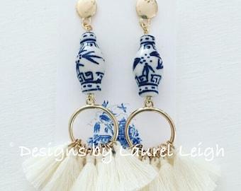 IVORY Ginger Jar Tassel Earrings | hoops, post earrings, gold, blue and white, statement earrings