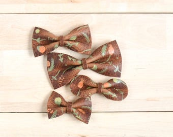 Floral Bow, Leather bow, Fall bow Baby Hair Bow Crocodile Clip/ Nylon Headband, Rustic Bow Adult Bow, Baby Bow, Soft Nylon Bow, Newborn Bow