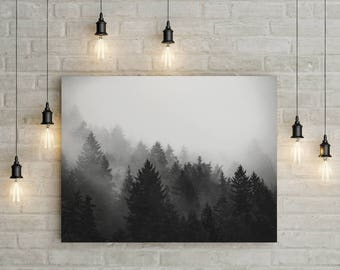 Fog Forest Print - Printable Wall Art, Printable Poster, Landscape Photo, Trees Print, Fog photo, Nature Photo, Digital Download