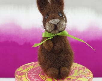 Small needle felted bunny rabbit, natural colour merino wool