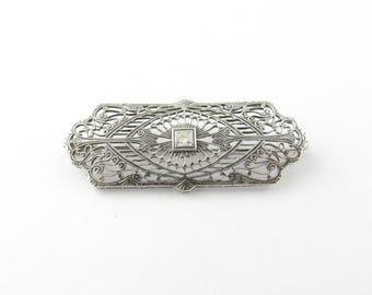 Vintage 10 Karat White Gold and Diamond Brooch/Pin #2984